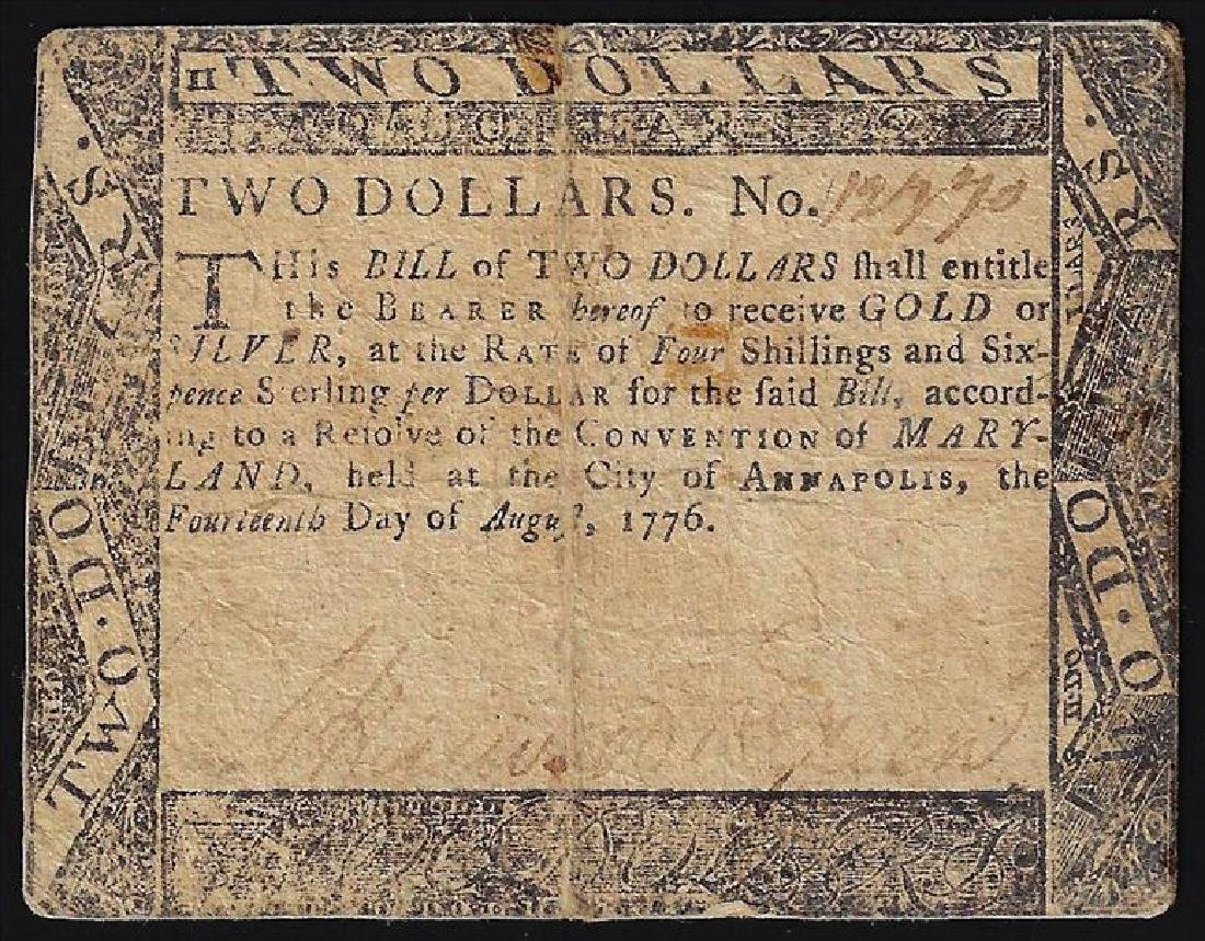 August 14, 1776 $2 Maryland Colonial Currency Note