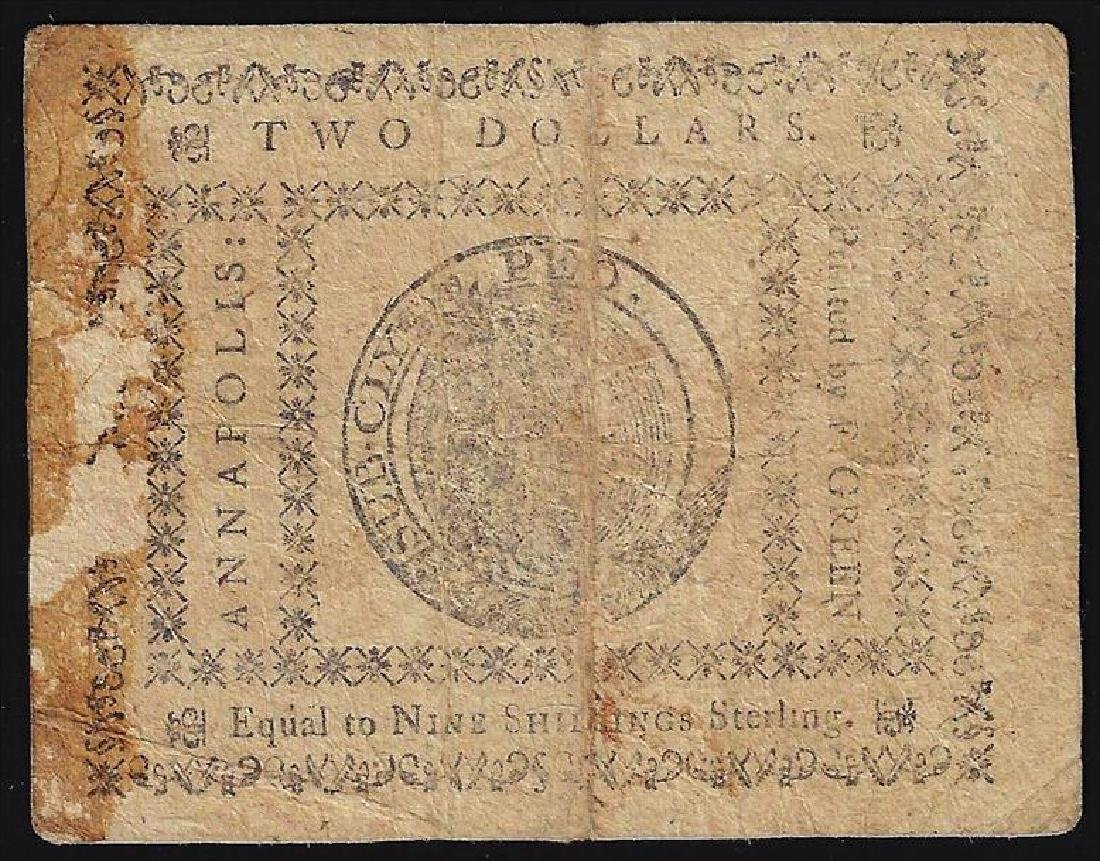 August 14, 1776 $2 Maryland Colonial Currency Note - 2