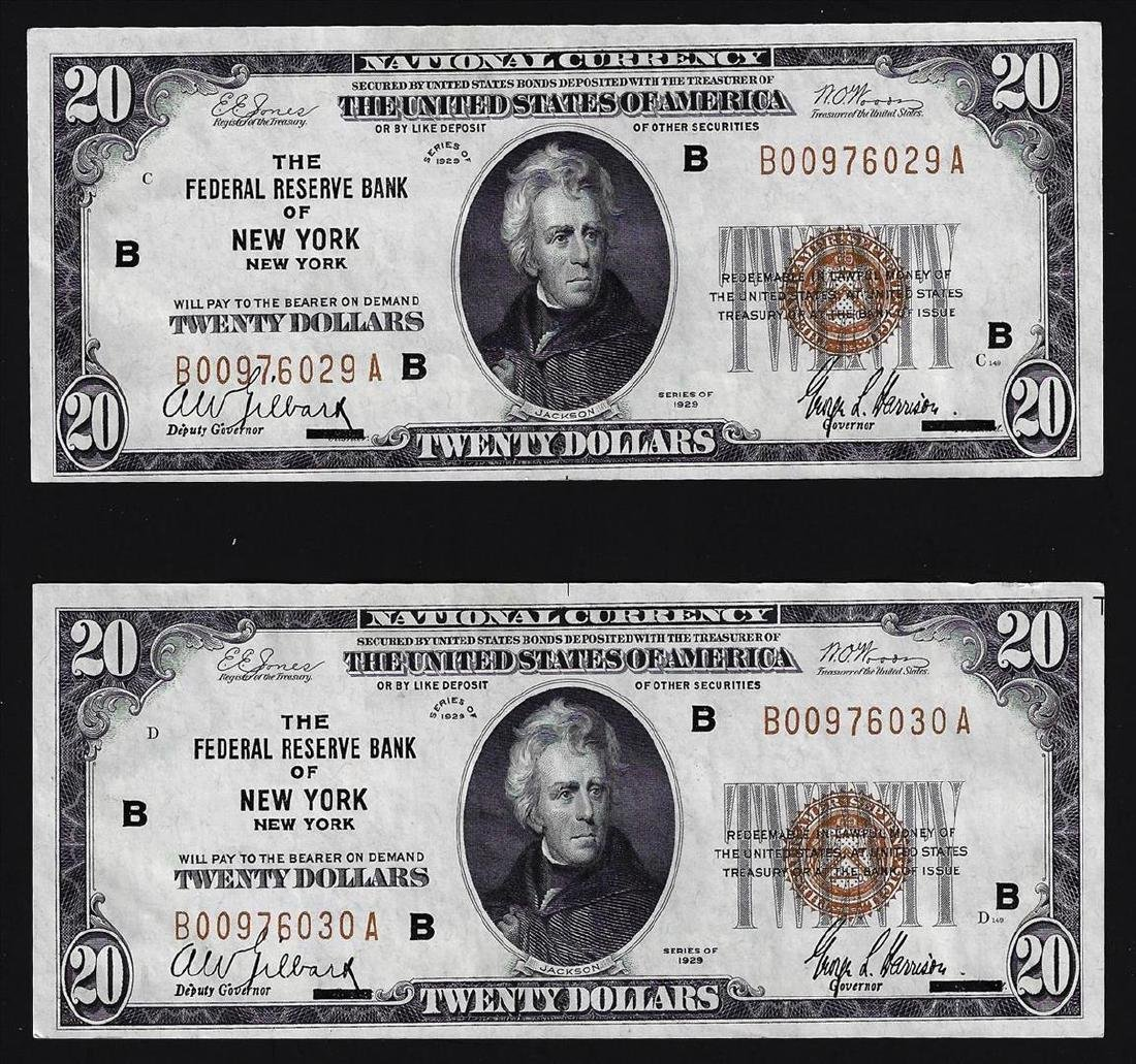 (2) Consecutive 1929 $20 Federal Reserve Bank of New