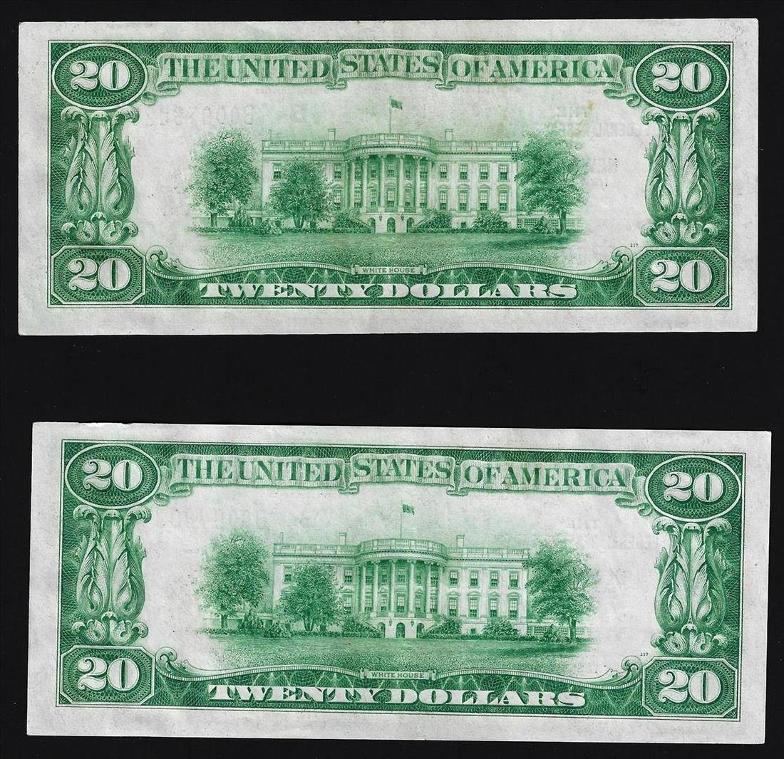 (2) Consecutive 1929 $20 Federal Reserve Bank of New - 2