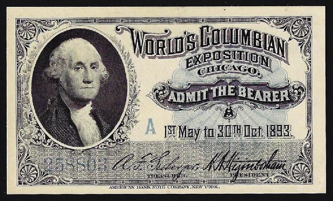 1893 World's Columbian Exposition Ticket