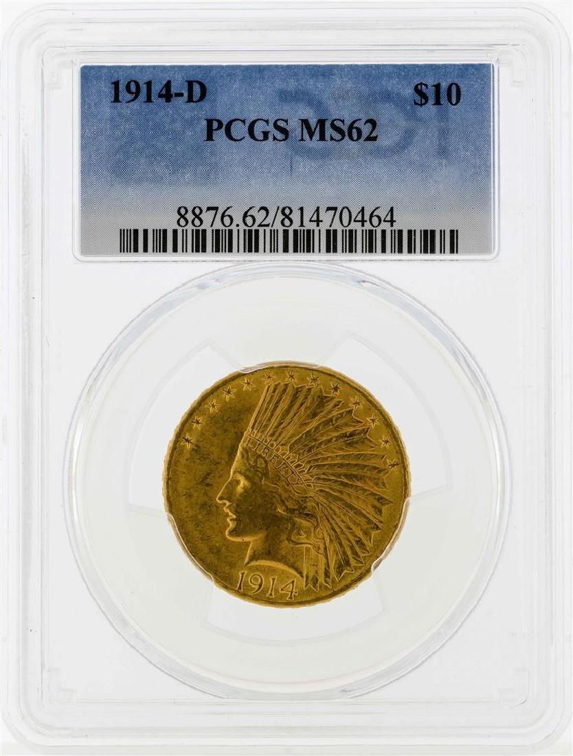 1914-D $10 Indian Head Eagle Gold Coin PCGS MS62
