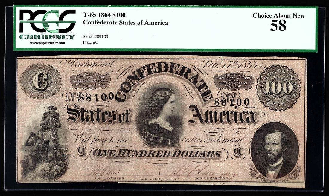 1864 $100 The Confederate States of America Note PCGS