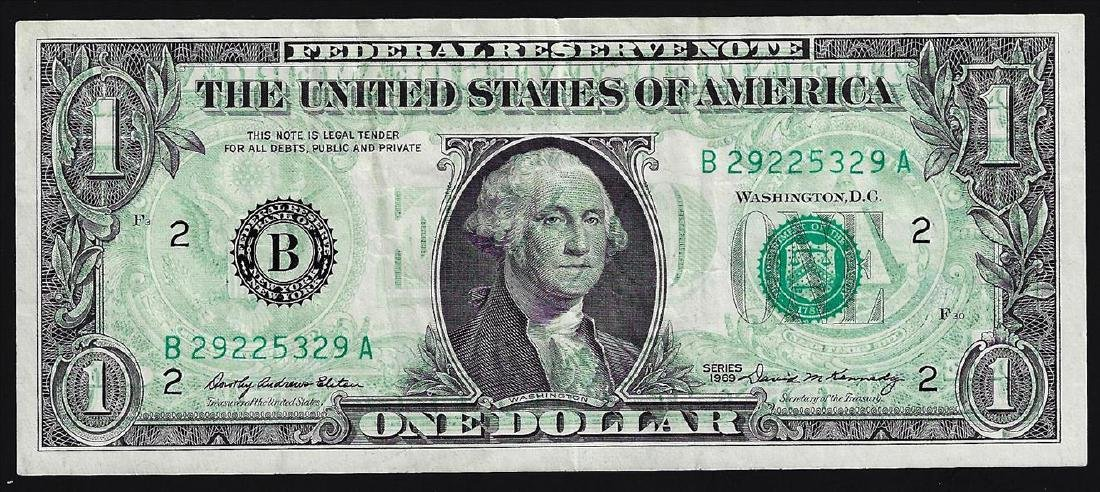 1969 $1 Federal Reserve Note ERROR Full Front to Back