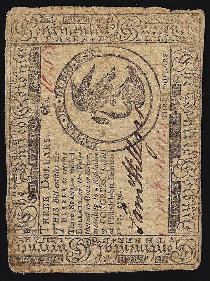 February 17, 1776 $3 Continental Currency Note