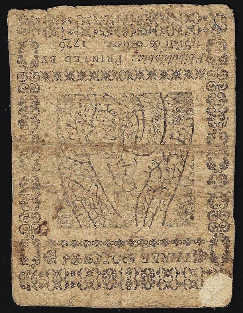 February 17, 1776 $3 Continental Currency Note - 2