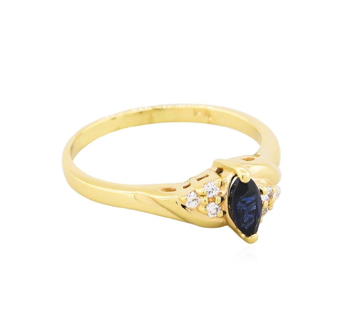 14KT Yellow Gold .50ct Marquise Sapphire and Diamond