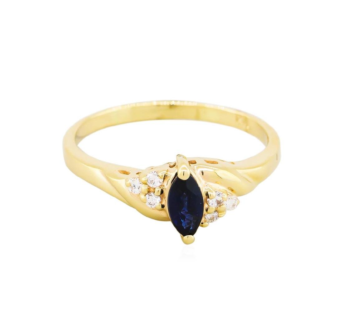 14KT Yellow Gold .50ct Marquise Sapphire and Diamond - 2