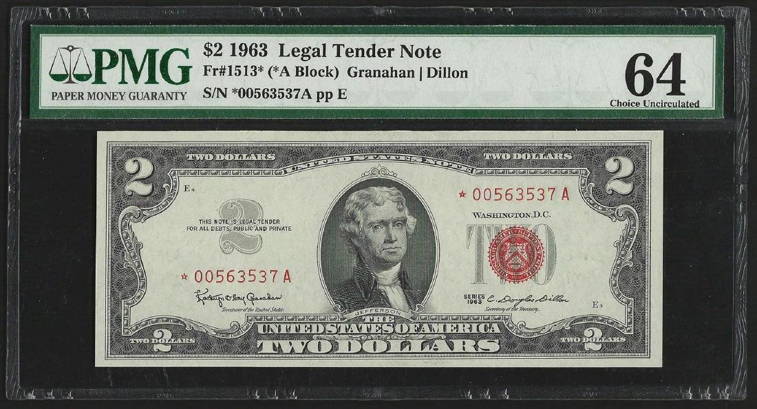 1963 $2 Legal Tender Note STAR PMG Choice Uncirculated