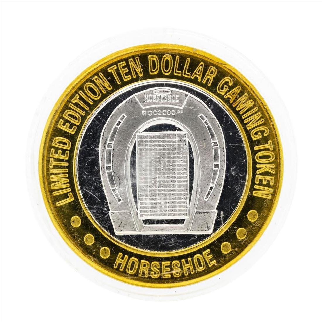 .999 Silver Binions Horseshoe Las Vegas $10 Casino - 2