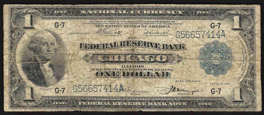 1918 $1 Federal Reserve Bank Note Chicago National