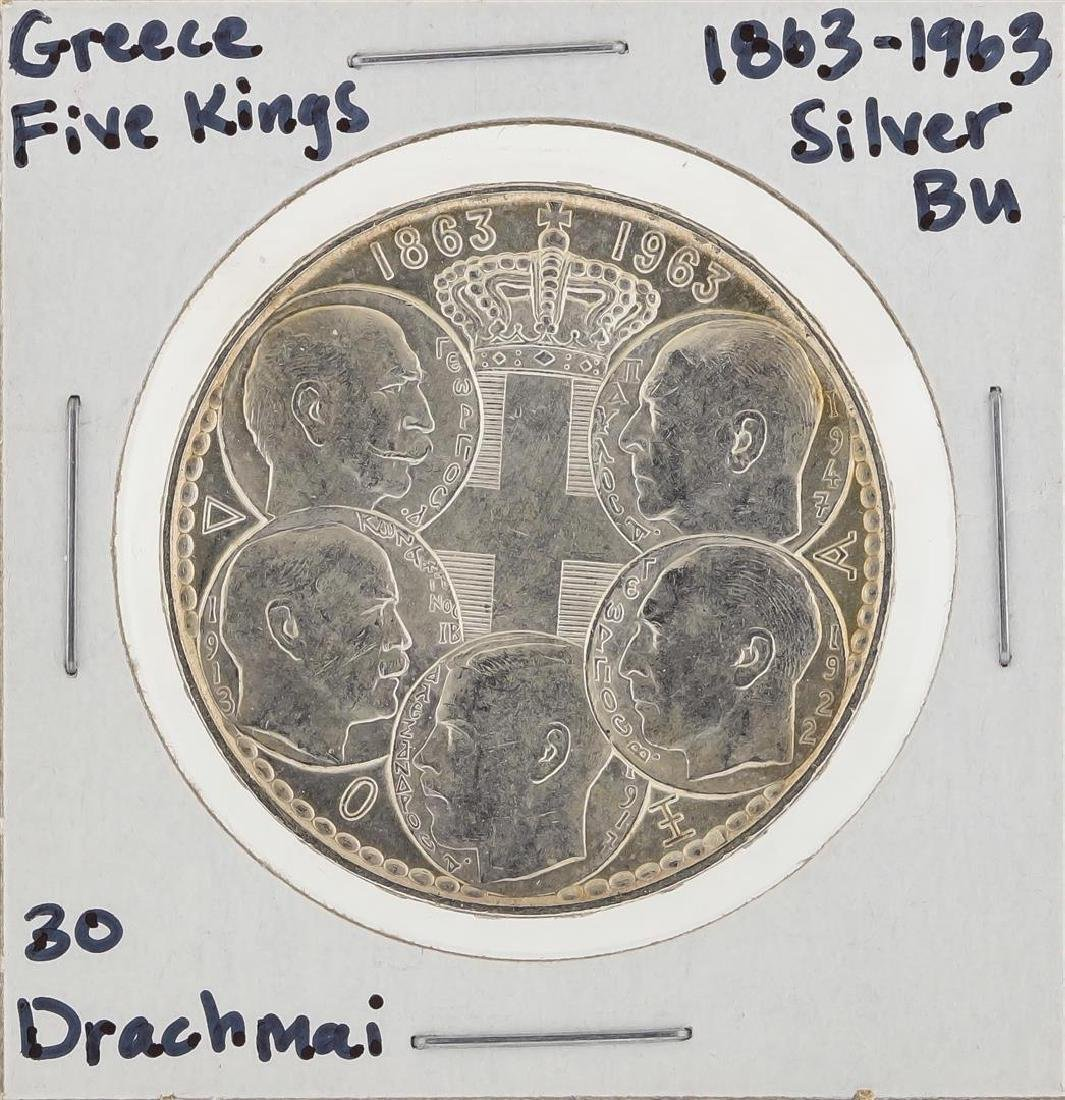 1869-1963 30 Drachmai Greece Five Kings Silver Coin BU