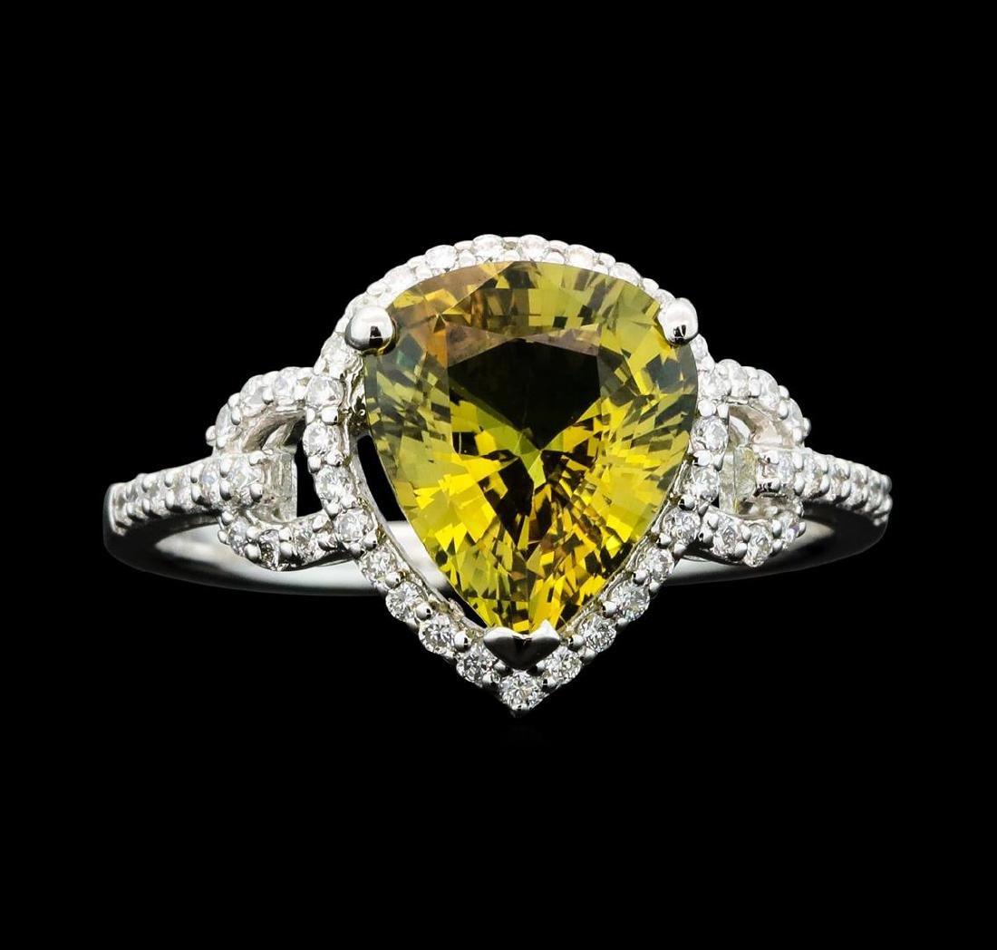 Platinum 2.79ct Sapphire and Diamond Ring