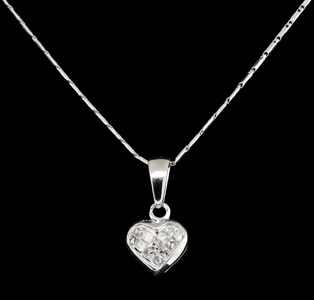 14KT and 18KT White Gold 0.25ctw Diamond Pendant with