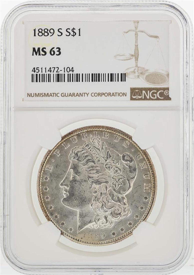 1889-S $1 Morgan Silver Dollar Coin NGC MS63