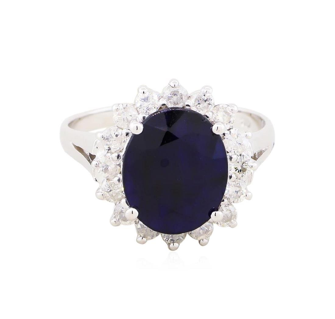 14KT White Gold 3.54ct Sapphire and Diamond Ring