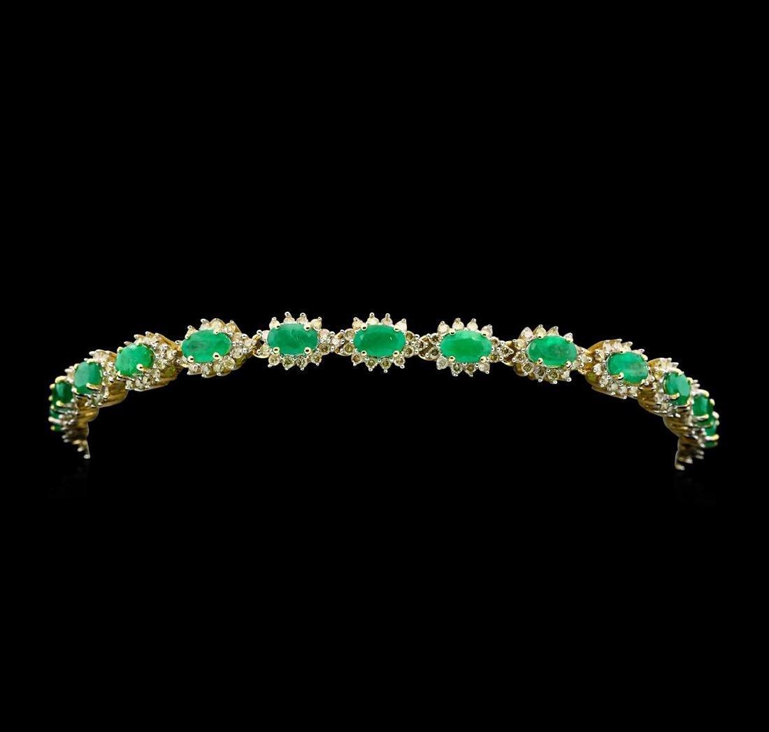14KT Yellow Gold 4.81cte Emerald and Diamond Bracelet