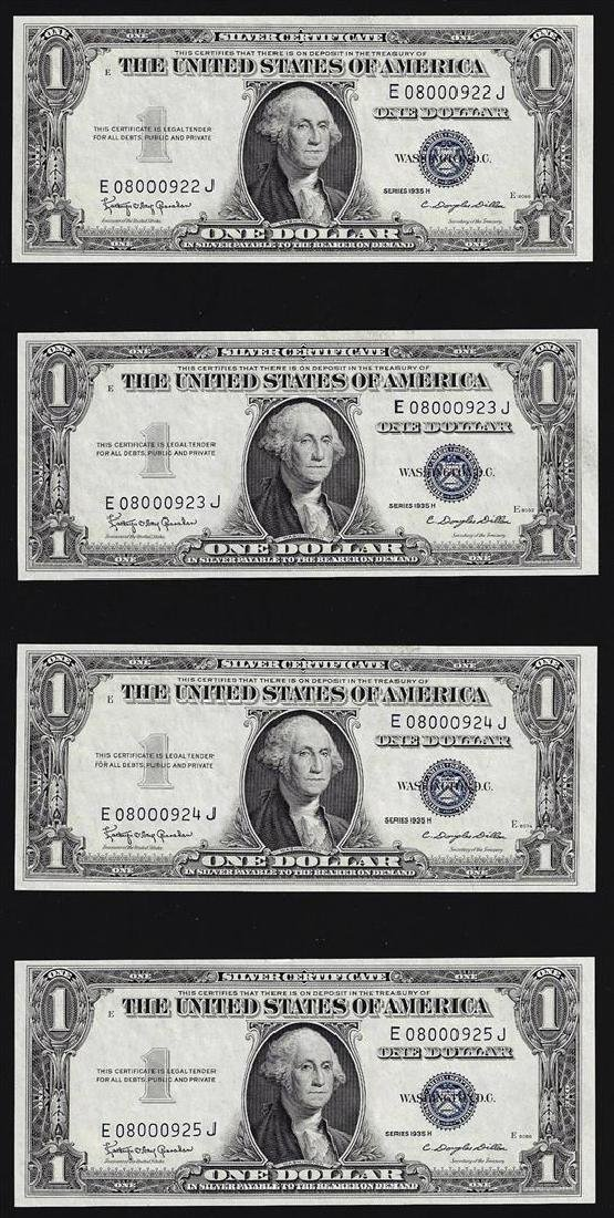 Lot of (4) Consecutive 1935H $1 Silver Certificate