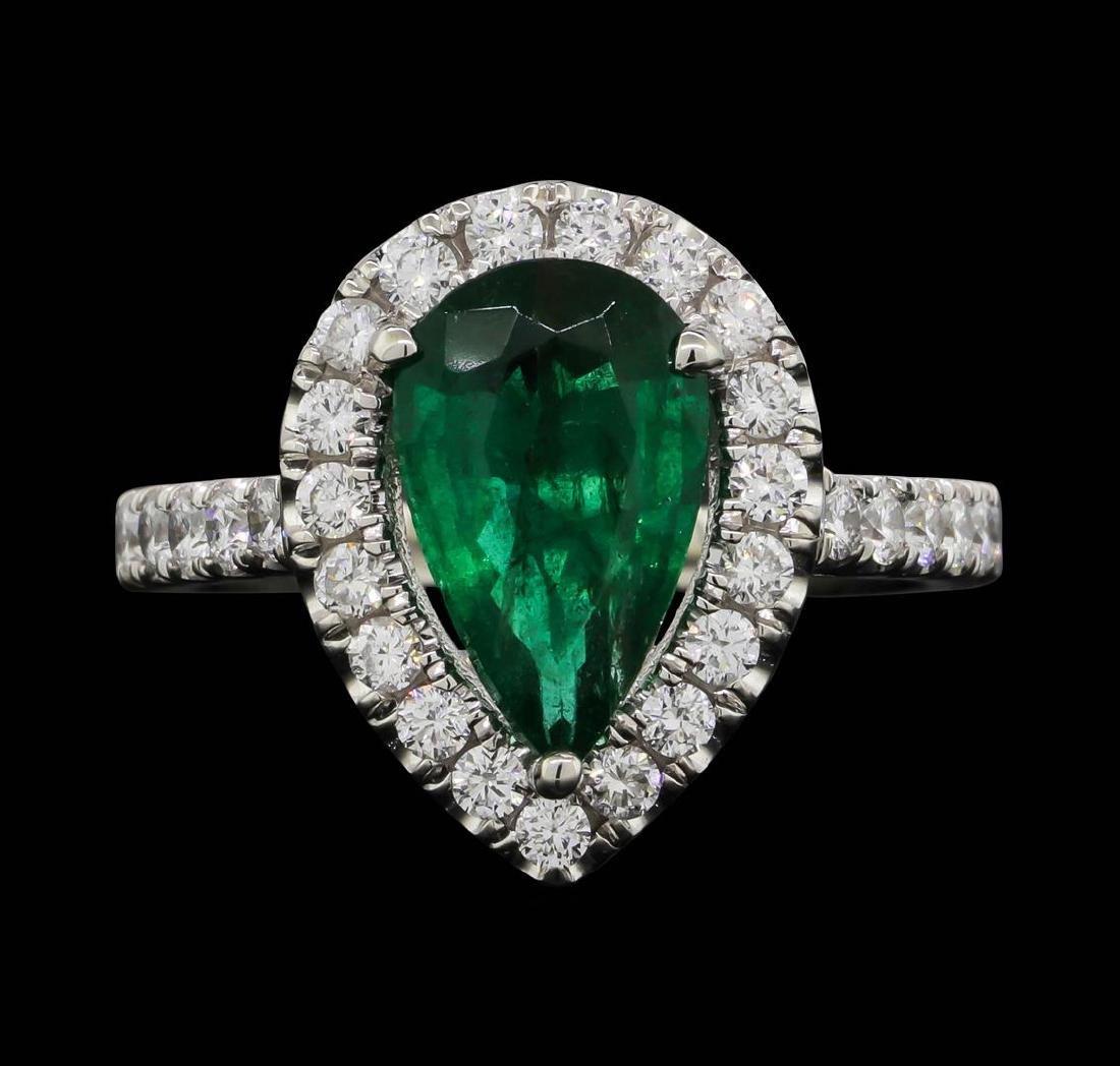Platinum 1.90ct Emerald and Diamond Ring