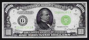 1934 $1000 Federal Reserve Note Chicago Light Green