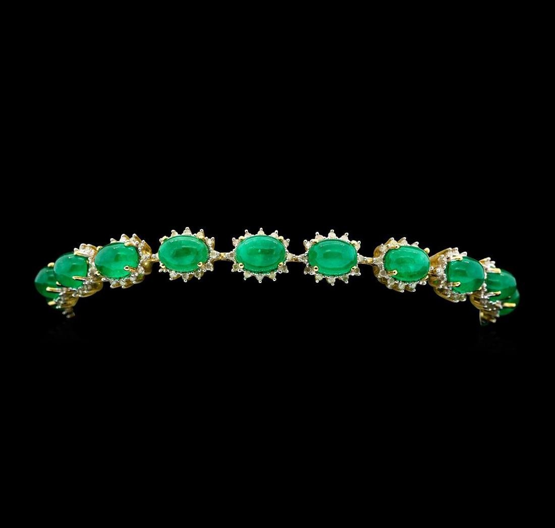 14KT Yellow Gold 20.25ctw Emerald and Diamond Bracelet
