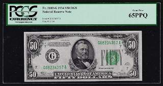 1934 $50 Federal Reserve Note PCGS Gem New 65PPQ