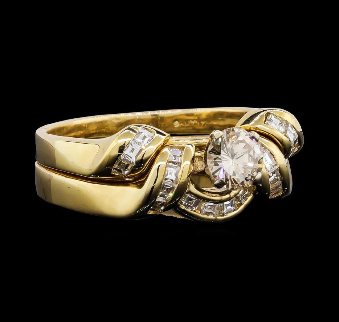 14KT Yellow Gold 0.75ctw Diamond Wedding Ring Set - 2
