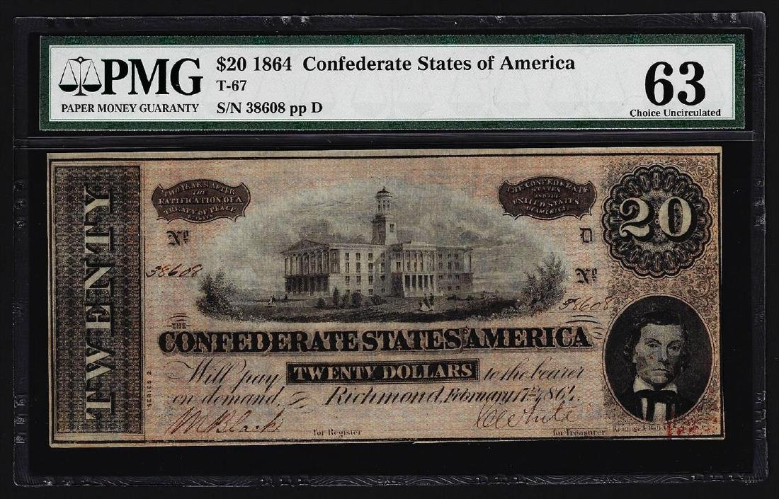 1864 $20 Confederate States of America Note PMG Choice