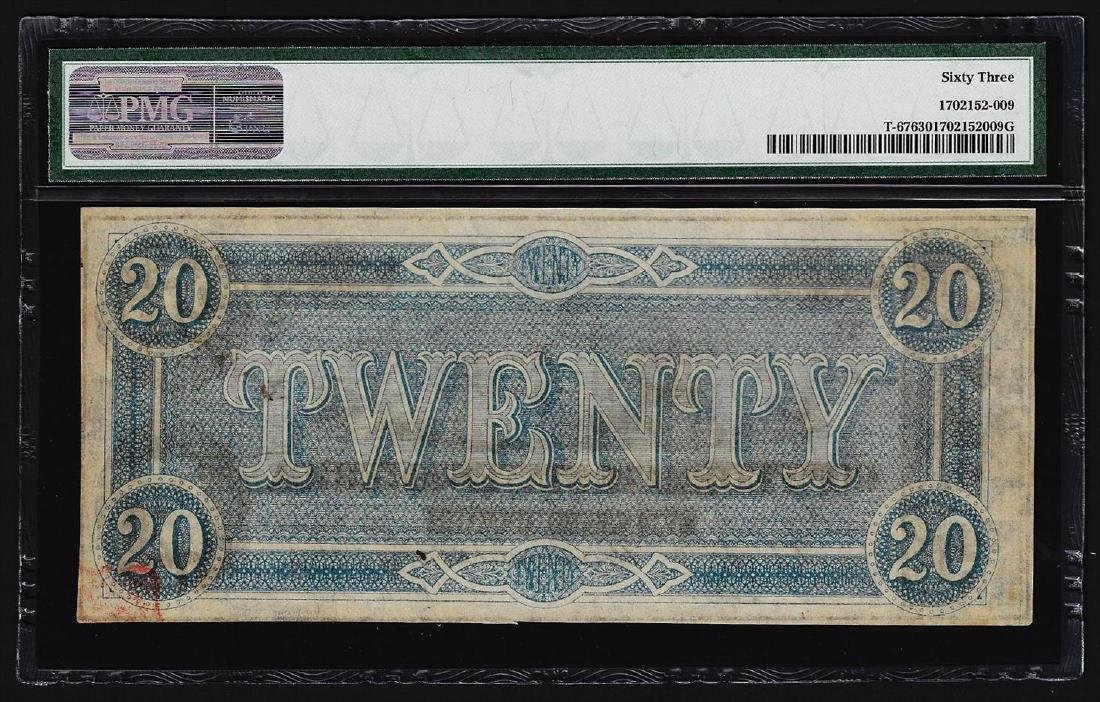 1864 $20 Confederate States of America Note PMG Choice - 2