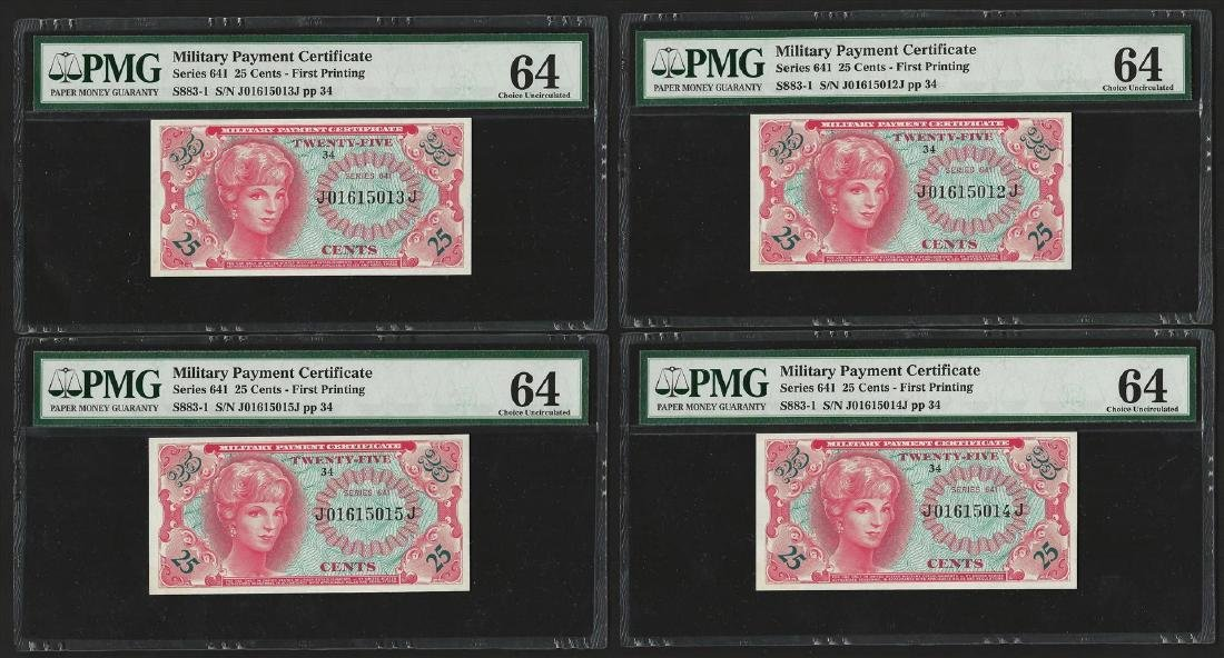 (4) Consecutive 25 Cents Military Payment Certificates