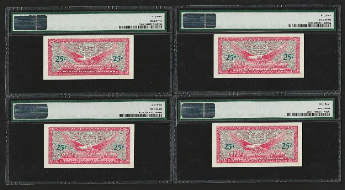 (4) Consecutive 25 Cents Military Payment Certificates - 2