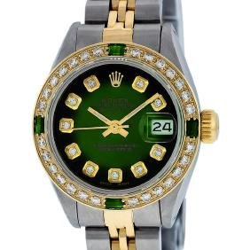 Rolex Ladies Two Tone Emerald And Diamond Datejust