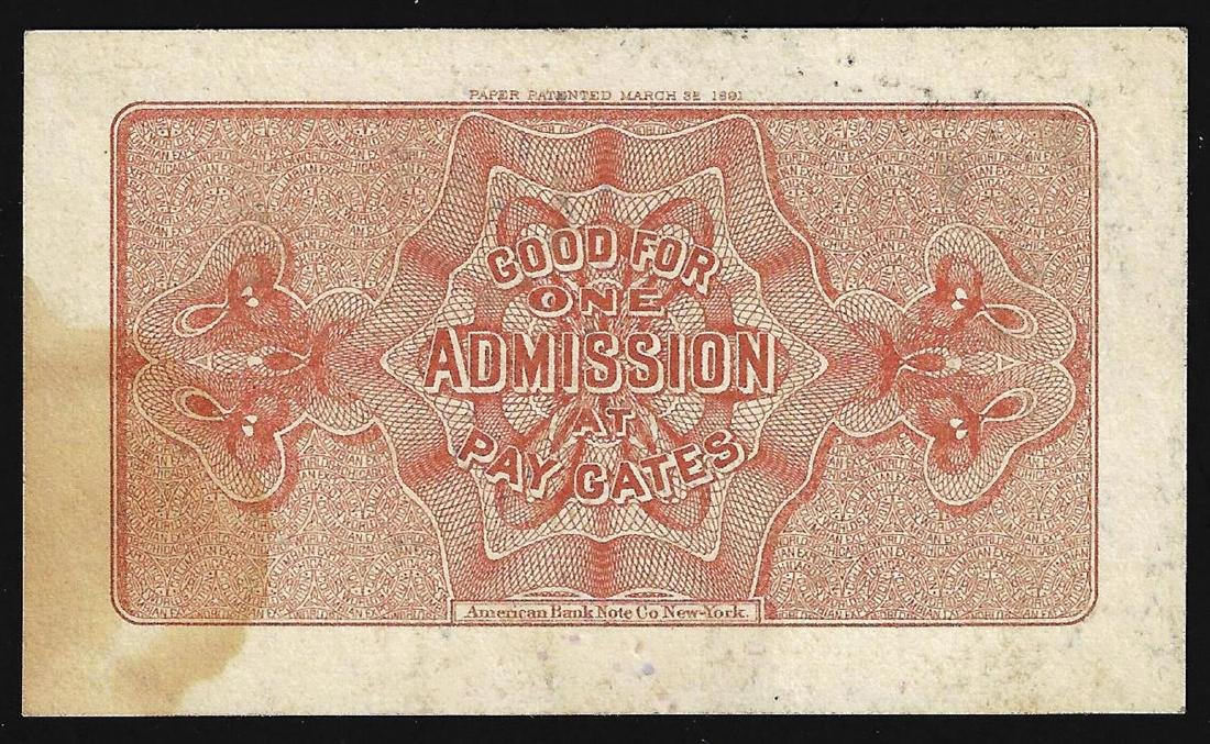 1893 World's Columbian Exposition Ticket - 2