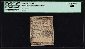 April 10, 1777 Six Pence Pennsylvania Colonial Currency