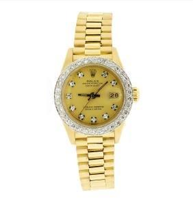Rolex Ladies President 18kt Yellow Gold 0.65ctw Diamond
