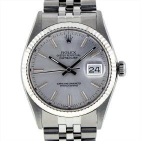 Rolex Mens Stainless Steel Datejust Wristwatch