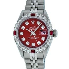 Rolex Ladies Stainless Steel Ruby And Diamond Datejust