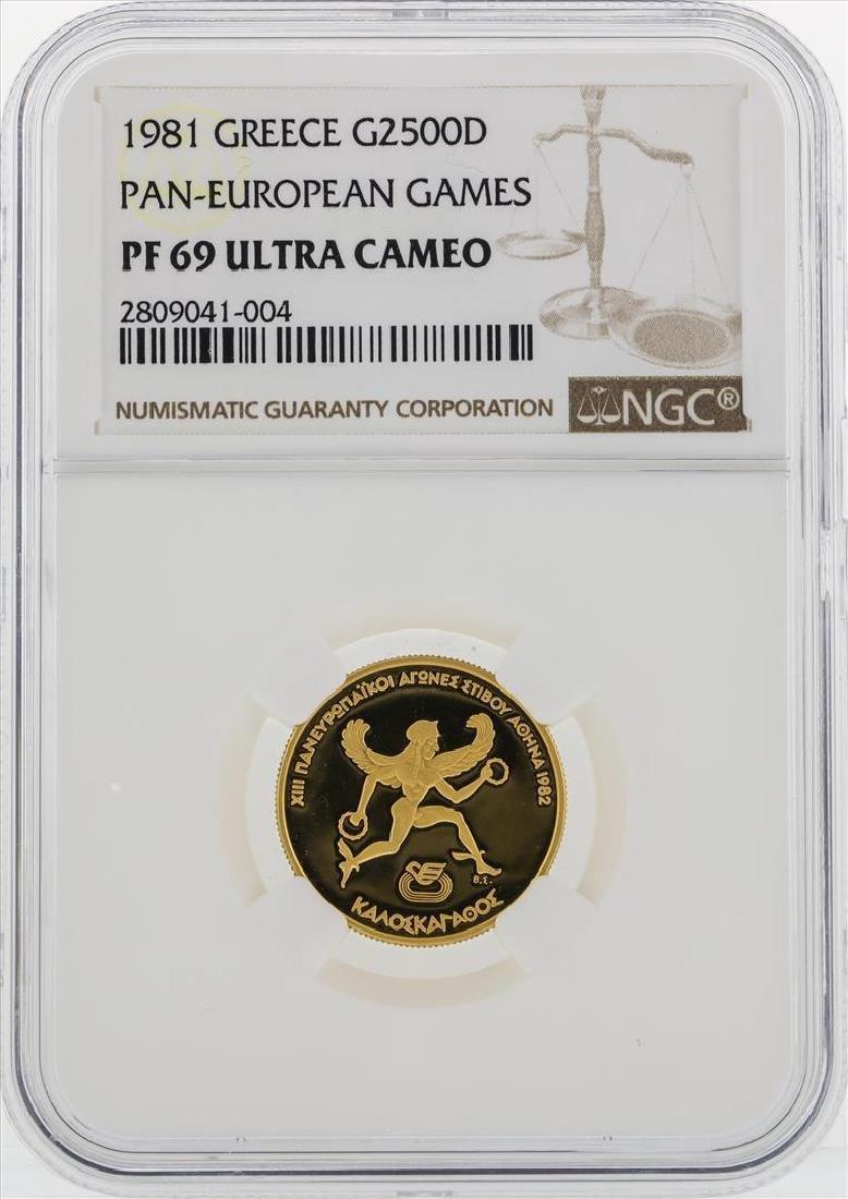 1981 Greece $2500D Pan European Games Gold Coin NGC