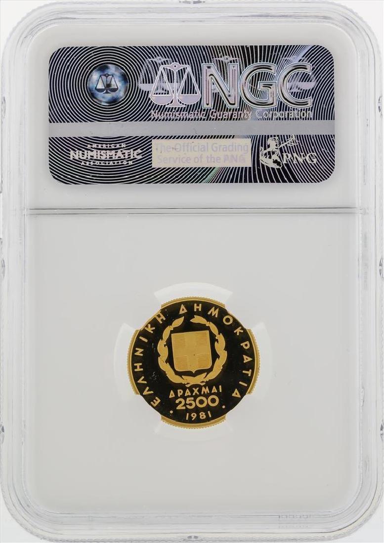 1981 Greece $2500D Pan European Games Gold Coin NGC - 2