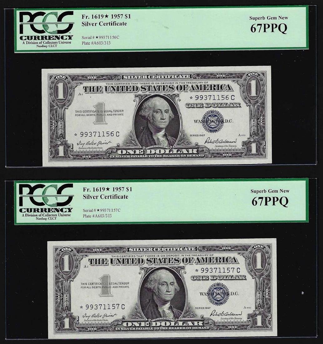 (2) Sequential 1957 $1 Silver Certificate STAR Notes