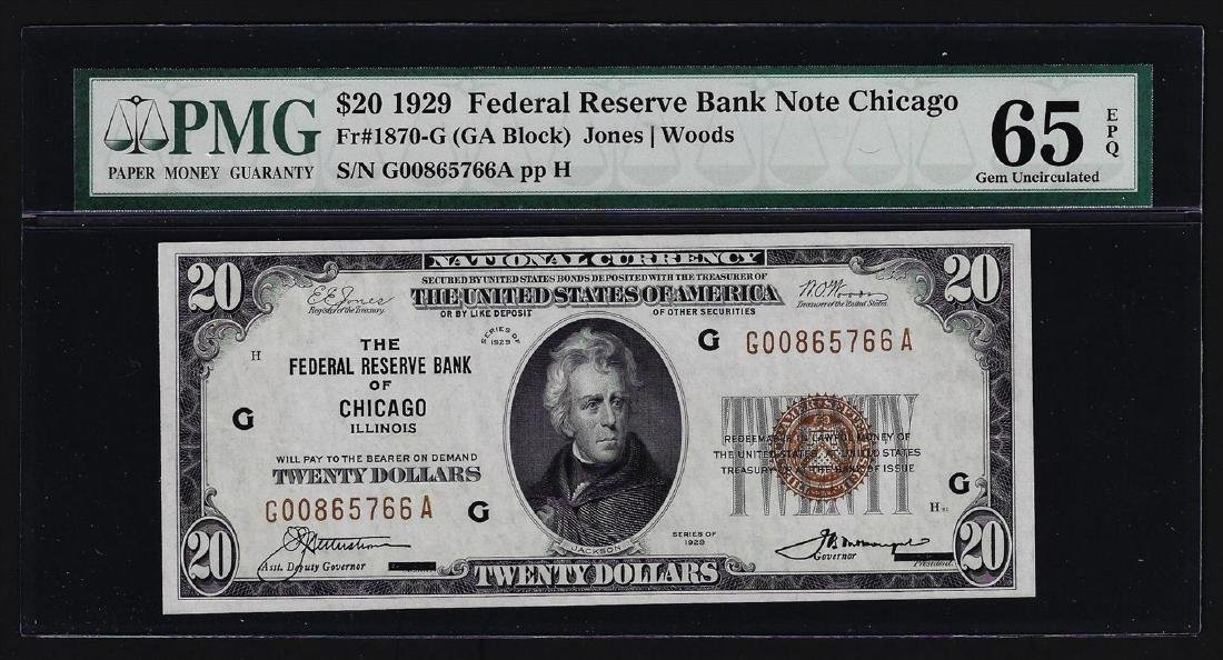 1929 $20 Federal Reserve Bank Note Chicago PMG Gem