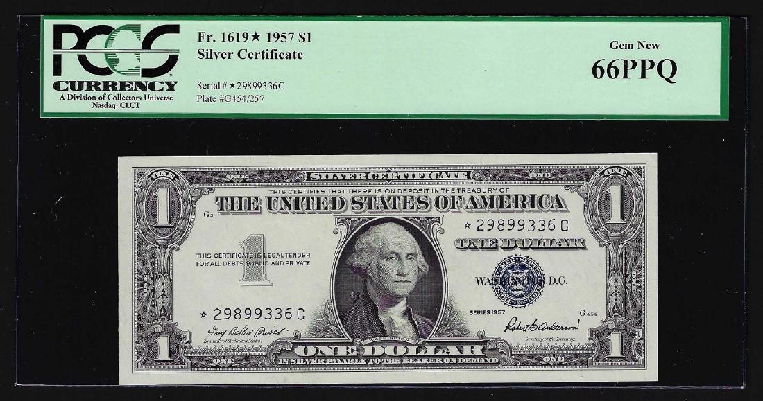 1957 $1 Silver Certificate STAR Note PCGS Gem New 66PPQ