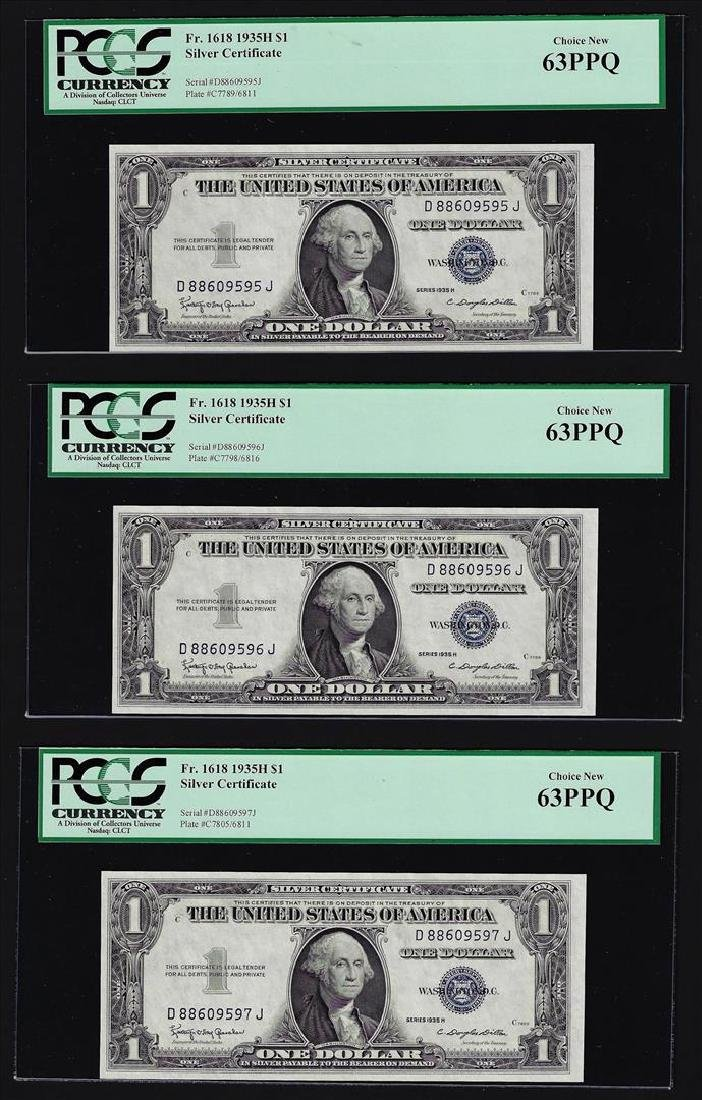 (3) Sequential 1935H $1 Silver Certificate Notes PCGS