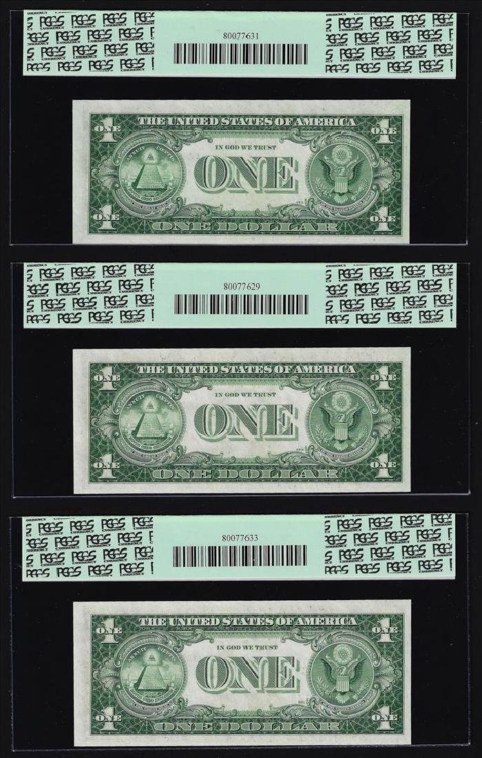 (3) Sequential 1935H $1 Silver Certificate Notes PCGS - 2