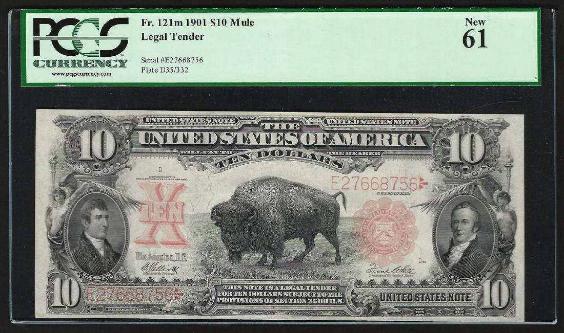1901 $10 Bison Legal Tender Currency Note PCGS New 61