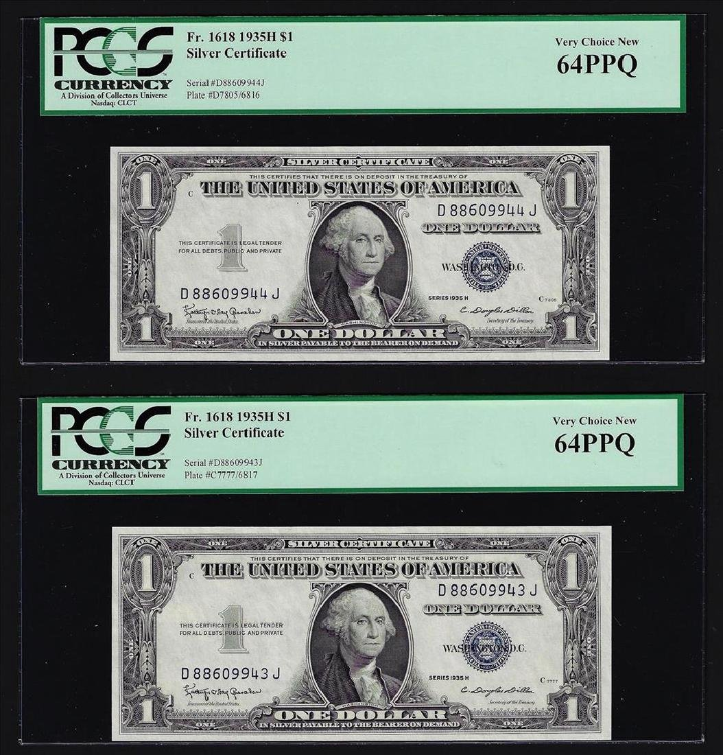 (2) Sequential 1935H $1 Silver Certificate Notes PCGS