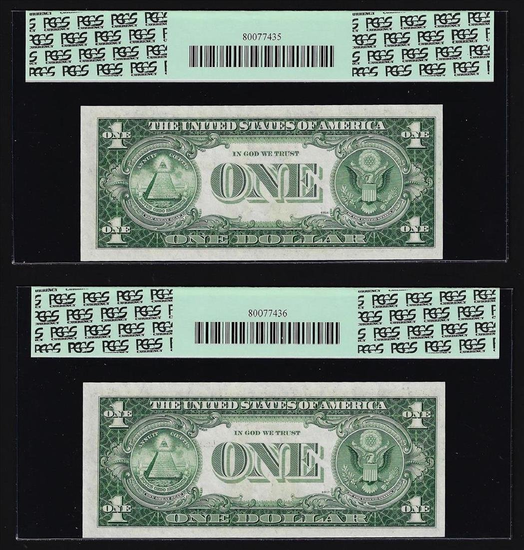 (2) Sequential 1935H $1 Silver Certificate Notes PCGS - 2
