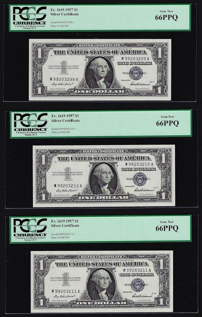(3) Sequential 1957 $1 Silver Certificate Notes PCGS