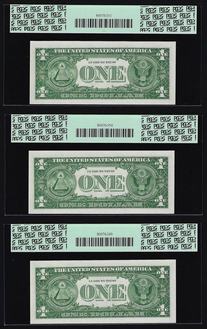 (3) Sequential 1957 $1 Silver Certificate Notes PCGS - 2