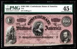 1864 100 The Confederate States of America Note PMG